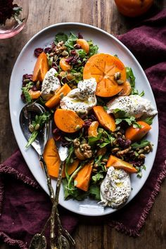 Harvest Cranberry, Persimmon and Burrata Salad, a simple colorful salad to balance your menu & compliment your Thanksgiving table, from halfbakedharvest.com