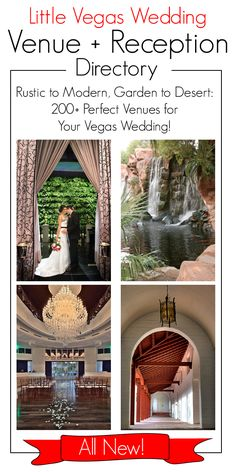 Browse the all-new and improved Little Vegas Wedding Venue and Reception Guide! Sorted by price and capacity, but also style, going beyond standard chapel weddings. Looking for a rustic ranch or modern art gallery venue  for your Vegas wedding? Check the directory out! http://www.littlevegaswedding.com/the-directory/wedding-venue-list/