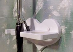 White Hair dryer two curling iron holder wood Heart by jahnjed, $14.95