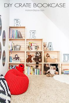 DIY Crate Bookcase. Create an adorable reading and play room for kids with DIY wood crate bookcase!