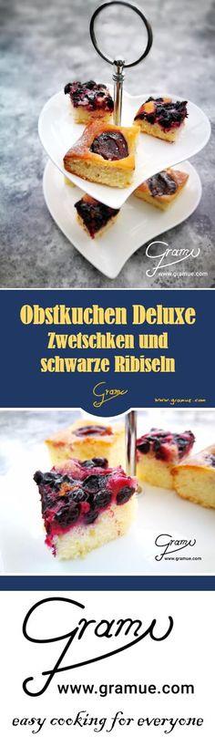 Obstkuchen Deluxe  Ein Obstkuchen mit Zwetschken und schwarzen Ribiseln. Mit einem Pfiff Vanillegeschmack und etwas Kirschrum der ideale Begleiter für eine Kaffeejause, oder vielleicht doch dabei der Mittelpunkt 😉  Mehr Infos gibt's auch unter www.gramue.com  #gramue #easycooking #easycookingforeveryone #einfach #cooking #kitchen #kochen #rezept #rezepte #köstlich #chef #zwetschke #ribisel #schwarzeribisel #obstkuchen #kuchen #jause #süsses Ethnic Recipes, Chef, Ursula, Food, Grandma's Recipes, Pie, Sprinkles, Backen, Cherries