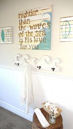 Baby Bye The Sea Surfer Boy Bedroom Décor His Love Nautical Prayer Sign Psalm 93 4 Love the towel rack! Decor, Boy Bedroom, Room, Nautical Bedroom, Bathroom Kids, Boys Nautical Bedroom, Beach House Decor, Nautical Bathrooms, Home Decor