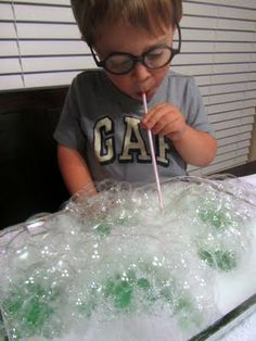 Indoor Bubble Blowing- Need to try it out :)
