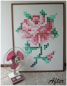 DIY Quadro rosa em ponto X pintado (encontrado no lixo)