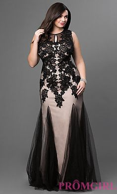 Black Sleeveless Lace Embroidered Tulle Floor Length Dress by Elizabeth K at PromGirl.com