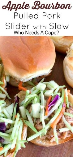 Make these deliciously easy Apple Bourbon Pulled Pork Sliders with Slaw! Perfect for game day spreads or for an easy meal anytime. You'll love them!