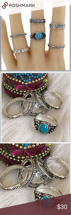 NWT Nice Assorted Set Of Turquoise Silver Rings These are really cool rings and all the trend! Everyone of them is a different pattern! They are also very comfortable and are assorted sizes! Boutique Jewelry Rings