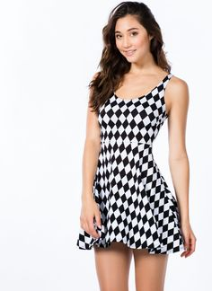 Contrasting Harlequin Print Dress-GoJane.com