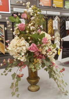 Good ideas to discover Summer Flower Arrangements, Artificial Floral Arrangements, Silk Floral Arrangements, Floral Centerpieces, Altar Flowers, Church Flowers, Spring Flowers, Beautiful Flowers, Vase