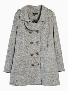 Light Gray Double Breated Texture Longline Coat - Choies.com