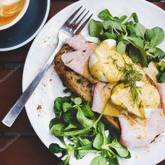 Pork Ham, Bread Toast, Breakfast Set, Cafe Tables, Sourdough Bread, Poached Eggs, Flat Lay, Clean Eating, Salad