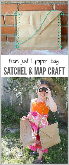 All you need to make this satchel & map craft for kids is one paper bag! Such a fun way to encourage creative play! ~ BuggyandBuddy.com