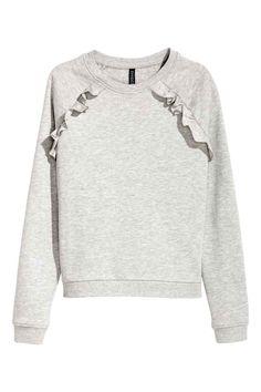 Sweater met volants - Grijs gemêleerd - DAMES   H&M BE