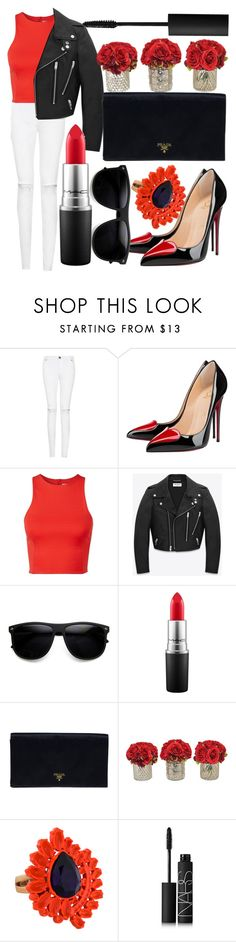 """""""Red Gangster"""" by egordon2 ❤ liked on Polyvore featuring Christian Louboutin, T By Alexander Wang, Yves Saint Laurent, ZeroUV, MAC Cosmetics, Prada, The French Bee, Mawi, NARS Cosmetics and red"""