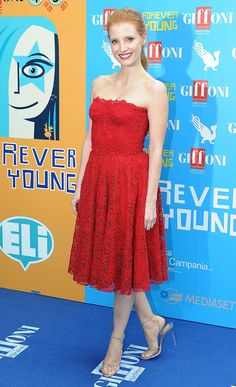 Actress Jessica Chastain arrived at the 2013 Giffoni Film Festival in a stunning red lace Dolce and Gabbana dress with a matching red lip.Actress Jessica Chastain arrived at the 2013 Giffoni Film Festival in a stunning red lace Dolce and Gabbana dress with a matching red lip. via StyleList