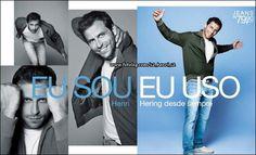"""Campanha da Hering 2010 usando o slogan, com o ator Henri Castelli. """"EU SOU,EU USO HERING DESDE SEMPRE""""."""