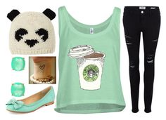 Panda by sirendoom on Polyvore featuring polyvore, fashion, style, Frame Denim, Frye, Kate Spade, BCBGMAXAZRIA, starbucks, panda, mint, coffee and chill