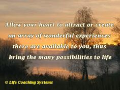 Allow your heart to attract or create an array of wonderful experiences there are available to you, thus bringing the many possibilities to life. ~ Steven Redhead