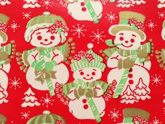 Vintage Christmas Gift Wrapping Paper - Gold Accented Holiday Snowmen - Snowman Family  - 1 Unused Full Sheet Gift Wrap by TheGOOSEandTheHOUND on Etsy