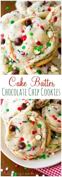 It's cookie season! These Cake Batter Chocolate Chip Cookies couldn't be more fe… It's cookie season! These Cake Batter Chocolate Chip Cookies couldn't be more festive. Check out the Greatest Holiday Cookie Recipes Ever Holiday Cookie Recipes, Cookie Desserts, Holiday Desserts, Just Desserts, Delicious Desserts, Christmas Recipes, Holiday Treats, Mini Desserts, Amazing Cookie Recipes