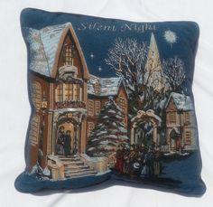 Silent Night Tapestry Throw Pillow Christmas Carols Snow Village Navy Blue 16in