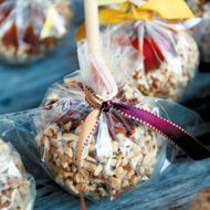 Fall Weddings: 10 Wedding Favor Ideas – Real Weddings – Fall Weddings.  It would be very time consuming but I think homemade caramel apples of different varieties would be the perfect favor.  Tied with an orange bow, and the DIY salt dough name tags that have our last name or the date or thank you on it would be wonderful.