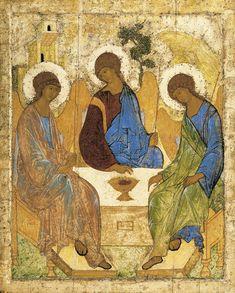 Icono de la Trinidad. Andrei Rubliov, entre 1422 y 1428. Galería Tretiakov (Moscú, Rusia)