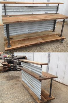 This could be a mobile food buffet, retail sales transaction counter, or reception station. It is made from reclaimed wood & tin. Nice industrial chic look!!