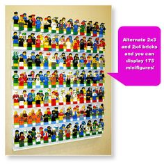 Minifigure display system for LEGO minifigures. BRICK RACK minifigure display case will hold 175 LEGO minifigures. Display minifigures on your table top or wall. Lego Sets, Wall Display Case, Lego Minifigure Display, Lego People, Painted Sticks, Time Capsule, Lego Brick, Lego Creations, Cool Toys