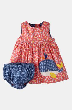 Mini Boden 'Printed Appliqué' Dress & Bloomers (Baby) | Nordstrom