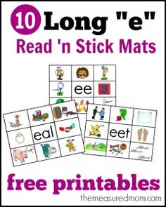 "Long ""Ee"" Read 'n' Stick Mats (-ee, -eal, -eet; free; from The Measured Mom)"