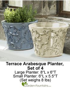 Terrace Arabesque Planter Set of 4. Two of each color and size. Beautiful planters can be used indoors or outdoors!
