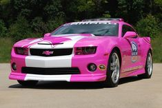 Pink Chevrolet Camaro SS Pace Car To Raise Money For Breast Cancer Charity - Rumor Central Chevy Camaro, Pink Camaro, 2013 Chevrolet Camaro, 2012 Camaro, Us Cars, Sport Cars, Race Cars, Police Cars, Jeep Cherokee