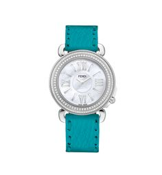 SELLERIA by FENDI Offering a hand-crafted strap that can be changed in the blink of an eye, Selleria blends elegance and versatility. Stainless steel case. Bezel adorned with sparkling diamonds. Mother-of-pearl dial. Amazing selection of interchangeable leather straps. Quartz movement. Swiss Made  Product code:  FOR237_XXU_QA0