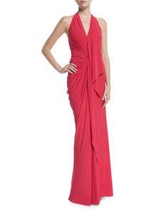 B33HN Donna Karan Halter-Neck Backless Evening Gown, Peony