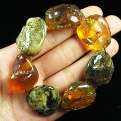 40.6g 100% Natural Polished Mexican Multi-color Amber Intact Bead Bracelet CSH22