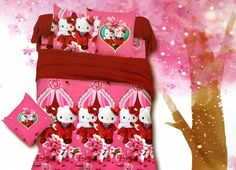 Hello kitty gets married Bed Sheet Kids cartoon glace cotton bedsheet