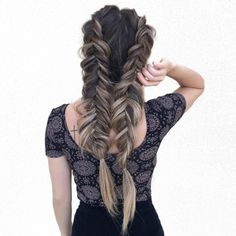 These Hairstyles Will Get You Out Of That Hair Rut #refinery29  http://www.refinery29.com/2016/09/124437/new-hairstyle-ideas-inspiration-photos#slide-26  Braid It...A LotFor all of those who have watched hours of fishtail braid tutorials, this one is for you. Especially cool if you have different colors flowing throughout your mane — this will surely show off your dye job....