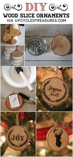 Haga clic aquí para obtener madera rebanada DIY adornos de Navidad - upcycledtreasures.com: