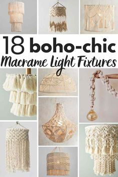 The 14 Most Gorgeous Macrame Pendant Lights! 5 DIY macrame lighting projects gorgeous macrame pendant lights you can buy! A shopping guide for the latest lighting craze. Macrame is popular for a good reason! These are ammmazzzing boho pendants! Boho Lighting, Pendant Lighting, Diy Pendant Light, Diy Light, Outdoor Lighting, Handmade Home Decor, Diy Home Decor, Coastal Decor, Diy Macrame Wall Hanging