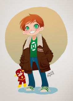 """And also something I wanted to draw for a long time – baby Wally drowning in Hals jacket. I'm sure Barry is not happy *cough* jealous *cough* """" Birdflash, Green Lantern Corps, Wally West, Young Justice, Dc Heroes, Dc Universe, Marvel Dc, Memes, Dc Comics"""