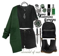 """Proud to be a Slytherin"" by carnivalofrust ❤ liked on Polyvore featuring Topshop, MANGO, Dr. Martens, Elizabeth and James, Andante, NOVICA, Isabel Marant, Emma Watson, Atelier Cologne and Maybelline"