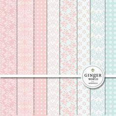 Pink BLush Digital Paper pack for scrapoobking DIY invites (DG008)