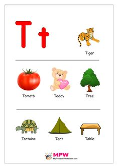 Things that start with T Alphabet Printable Worksheet Printable Preschool Worksheets, Alphabet Worksheets, Alphabet Activities, Printable Alphabet, Kindergarten Worksheets, Alphabet Phonics, Alphabet For Kids, Kids Phonics, Preschool Alphabet