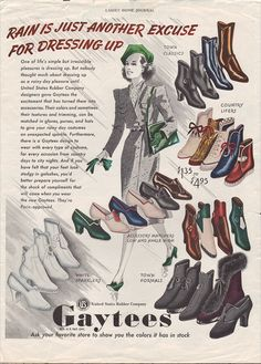 Shoe-Icons / Printed materials. Adverts / Advert for Gaytees rubber overshoes, produced by United Rubber Co., Ladies Home Journal, 1935.