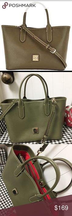 "🆕Dooney&Bourke QVC/Saffanio Lthr Brielle Satchel 🆕 List! New Never Used Dooney&Bourke Saffanio Lthr Satchel Brielle/Selling 4 Sis/ordered&Never Used/from QVC/Olive/Saffiano lthr/double handles/adjustable/removable shoulder strap/magnetic snap close/metal plate logo/4 feet/goldtone hardware/Signature red lining/back-wall zip pocket/slippocket/front-wall slippocket/center zip compartment/keyhook/11-3/4""W x 8-3/4""H x 5-1/4""D w 4-3/4""handledrop 21-1/2""-25-1/2""strapdrop/weighs approx 1-lb&9…"