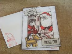 Tough Guy Card / 1940's Santa and Boy by TraceyAnns on Etsy, $4.85