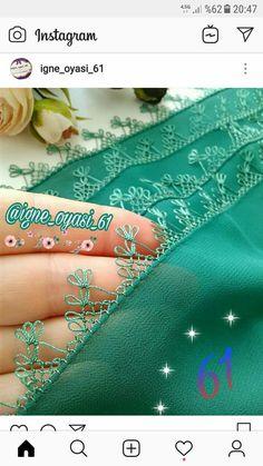 İğne oyasi Crochet Borders, Ribbon Work, Pedi, Tatting, Stitch Patterns, Purses And Bags, Needlework, Diy And Crafts, Embroidery