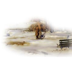 wikiPD-Bellows_George_A_Morning_Snow_Hudson_River_1910-Ed1 - CSI for... ❤ liked on Polyvore featuring winter, christmas, psd and special effects