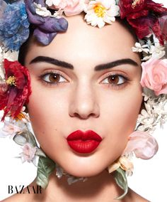 Wearing a floral headpiece from Dior Haute Couture, Kendall Jenner gets her closeup